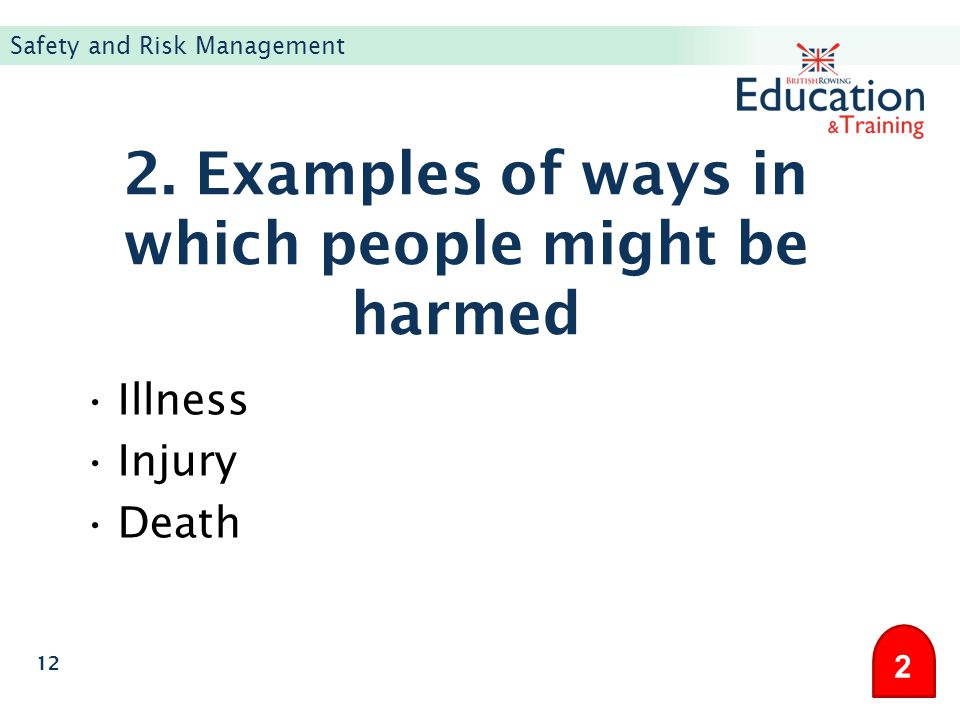 2. Examples of ways in which people might be harmed