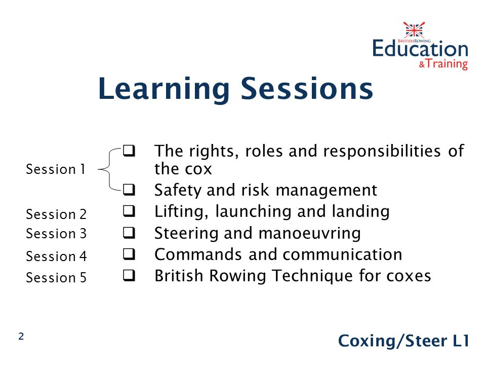 Learning Sessions The rights, roles and responsibilities of the cox