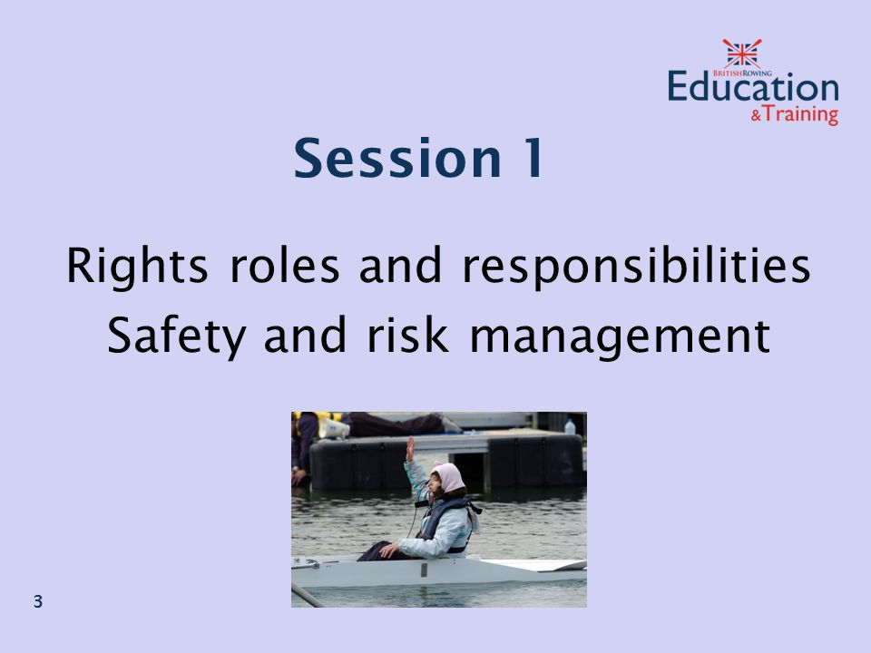 Session 1 Rights roles and responsibilities Safety and risk management