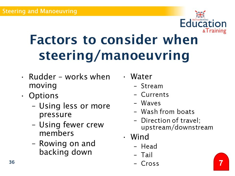 Factors to consider when steering/manoeuvring