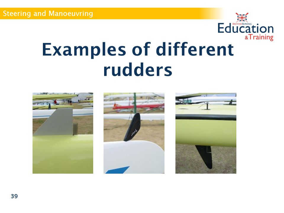 Examples of different rudders