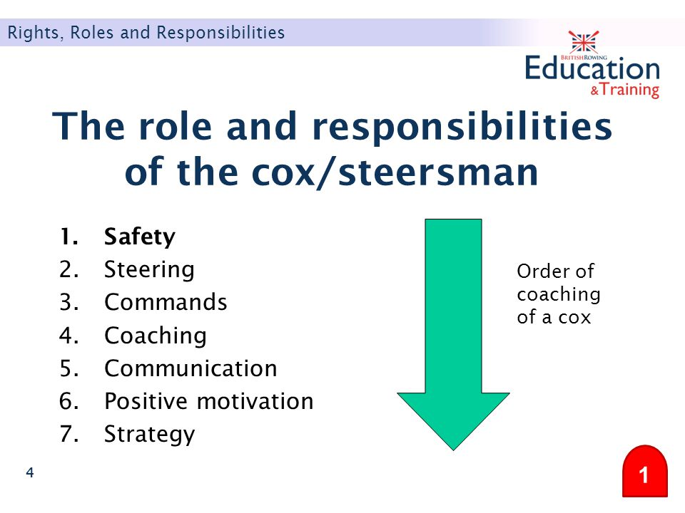 The role and responsibilities of the cox/steersman