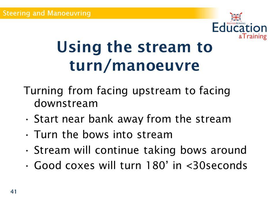 Using the stream to turn/manoeuvre