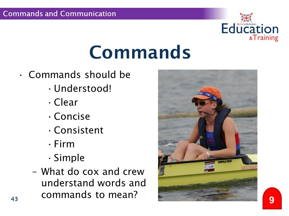 Commands Commands should be Understood! Clear Concise Consistent Firm