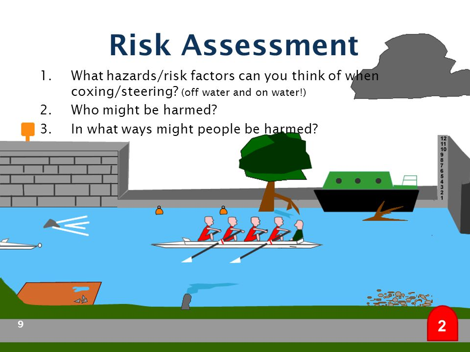 Risk Assessment What hazards/risk factors can you think of when coxing/steering (off water and on water!)