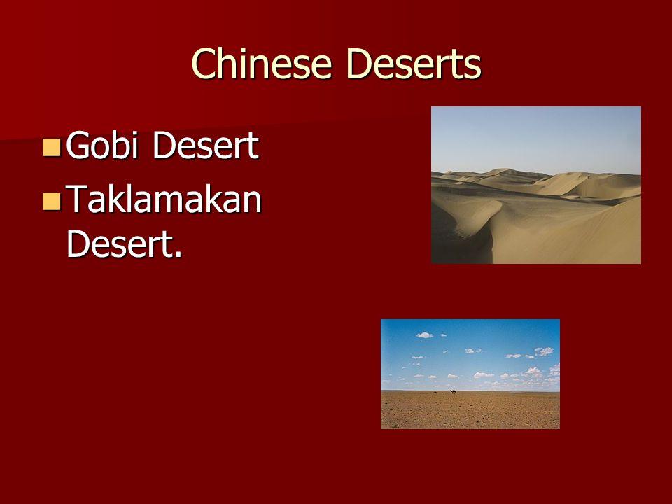 Chinese Deserts Gobi Desert Taklamakan Desert.