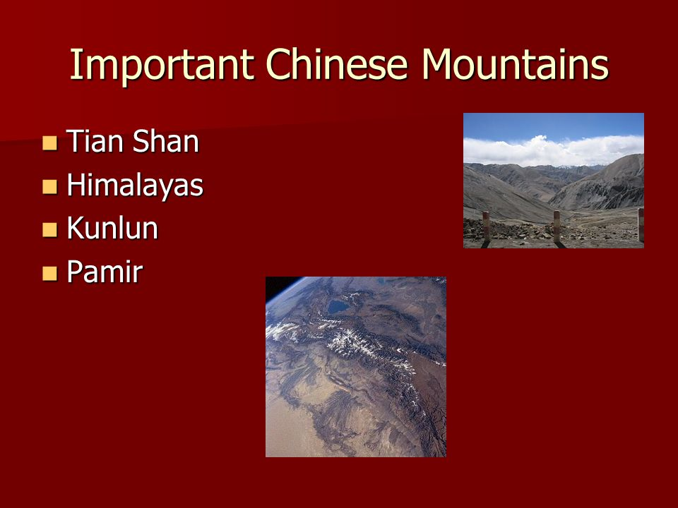 Important Chinese Mountains