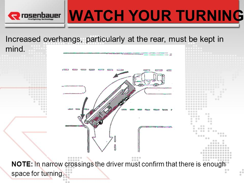 WATCH YOUR TURNING Increased overhangs, particularly at the rear, must be kept in mind.
