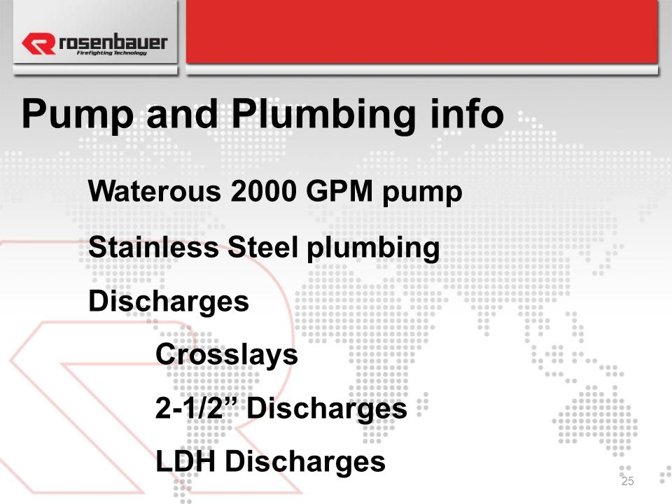 Pump and Plumbing info Waterous 2000 GPM pump Stainless Steel plumbing