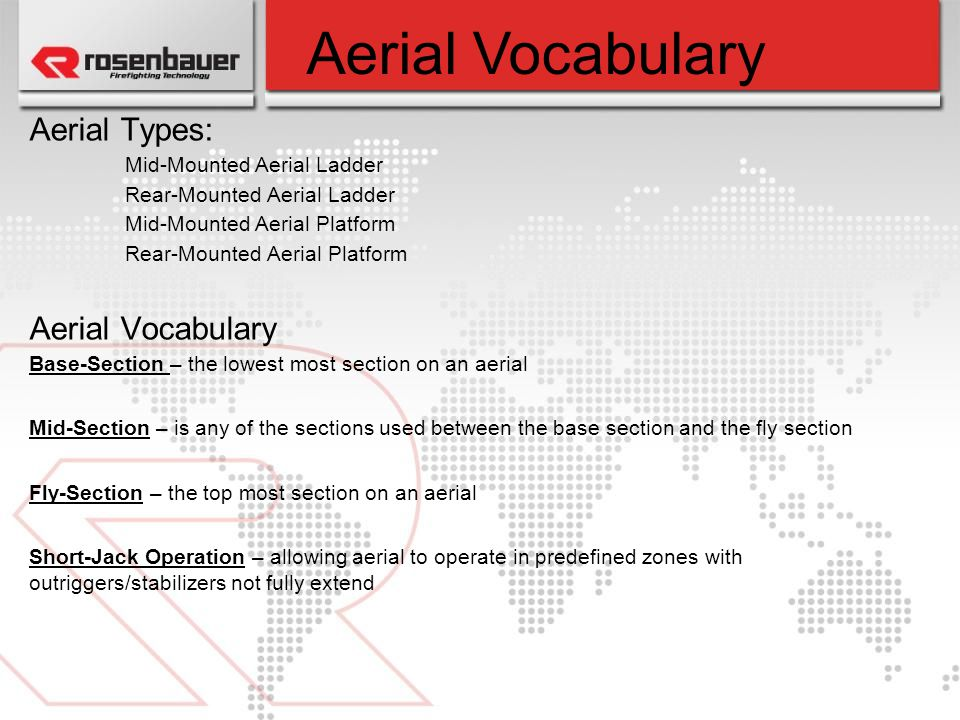 Aerial Vocabulary Aerial Types: Aerial Vocabulary
