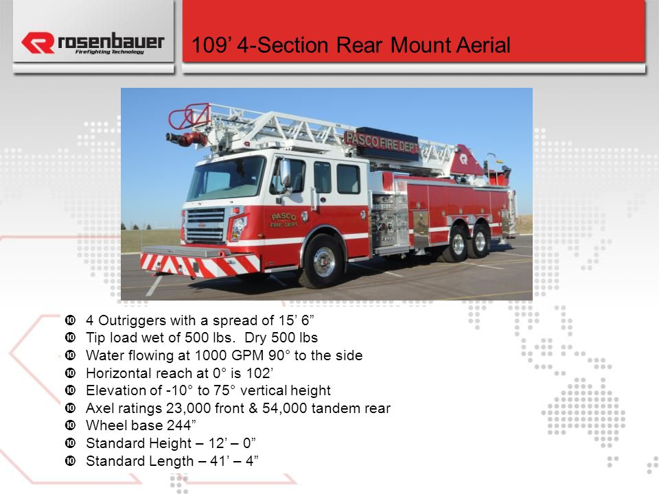 109' 4-Section Rear Mount Aerial