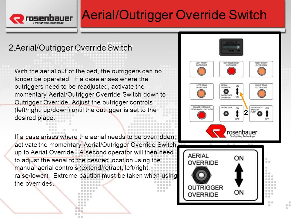 Aerial/Outrigger Override Switch