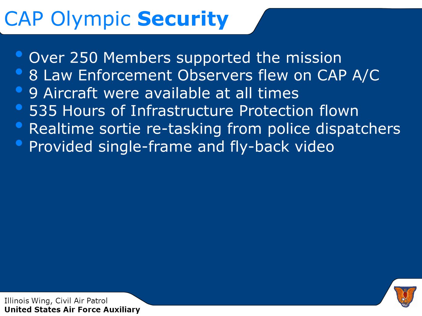 CAP Olympic Security Over 250 Members supported the mission