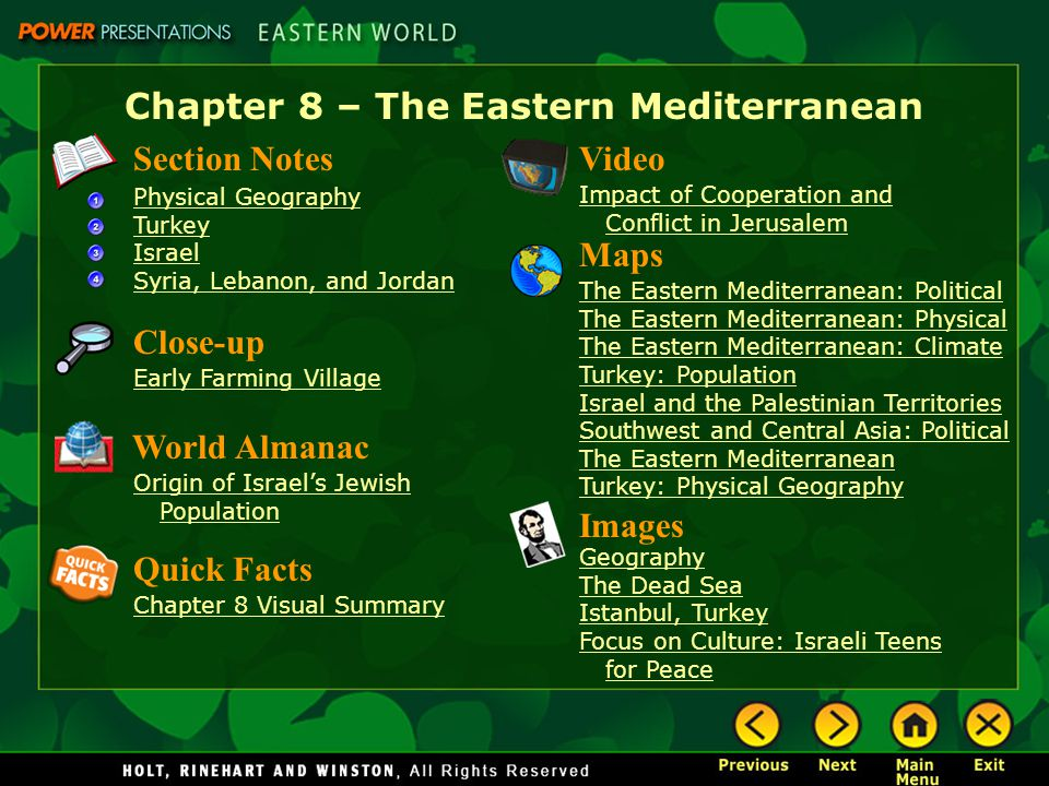 Chapter 8 – The Eastern Mediterranean