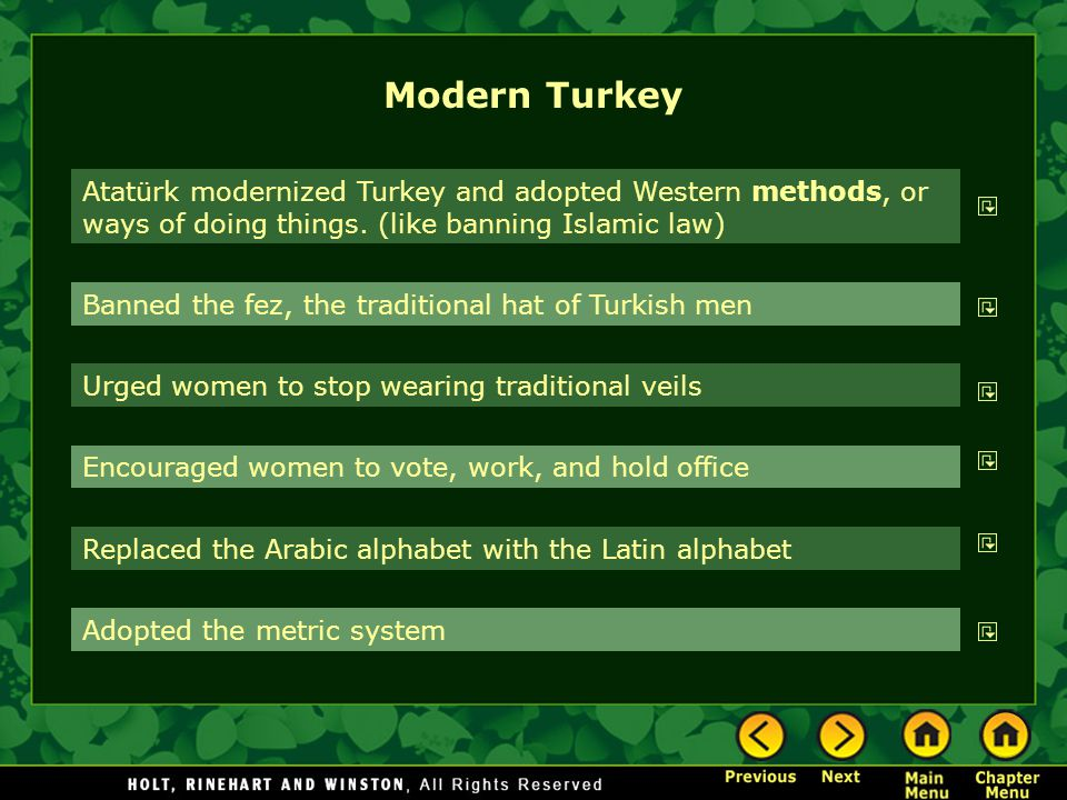 Modern Turkey Atatürk modernized Turkey and adopted Western methods, or ways of doing things. (like banning Islamic law)