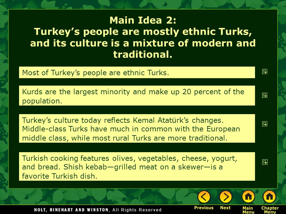 Main Idea 2: Turkey's people are mostly ethnic Turks, and its culture is a mixture of modern and traditional.