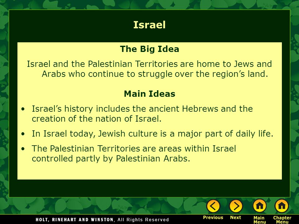 Israel The Big Idea. Israel and the Palestinian Territories are home to Jews and Arabs who continue to struggle over the region's land.
