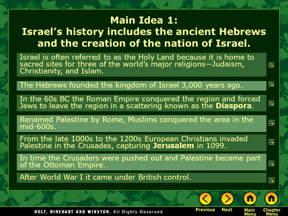 Main Idea 1: Israel's history includes the ancient Hebrews and the creation of the nation of Israel.