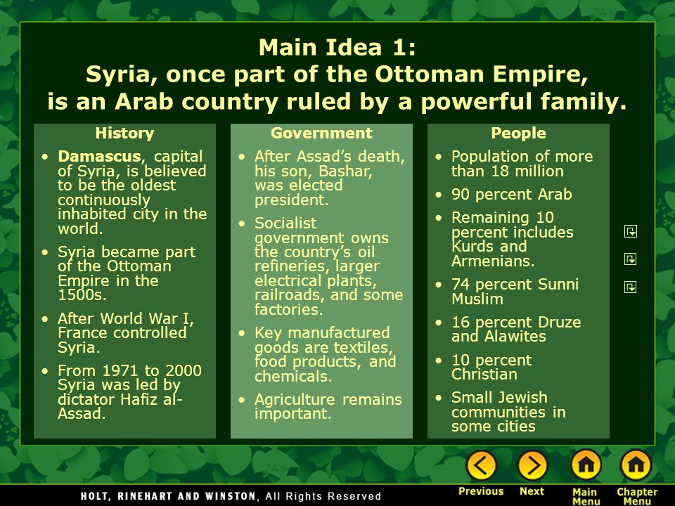 Main Idea 1: Syria, once part of the Ottoman Empire, is an Arab country ruled by a powerful family.