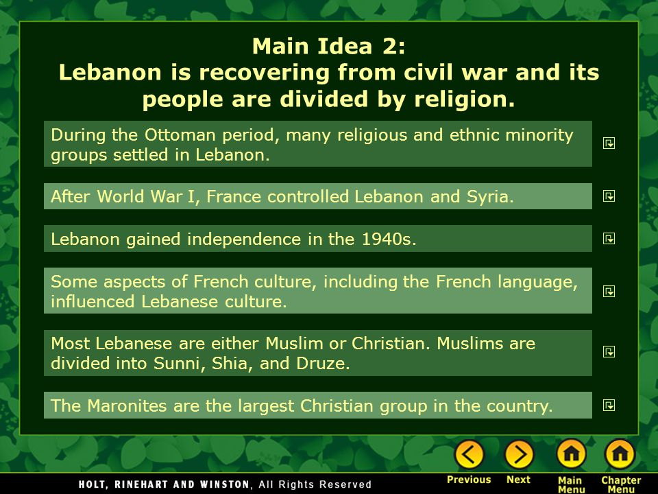 Main Idea 2: Lebanon is recovering from civil war and its people are divided by religion.