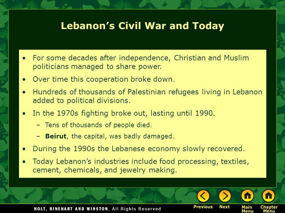 Lebanon's Civil War and Today