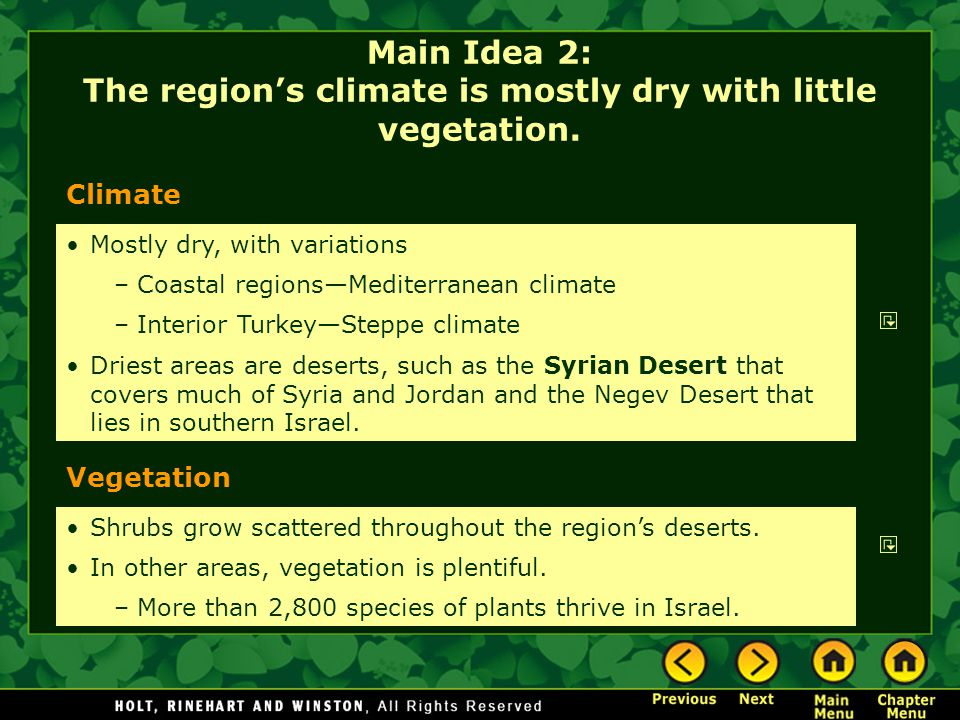 Main Idea 2: The region's climate is mostly dry with little vegetation.