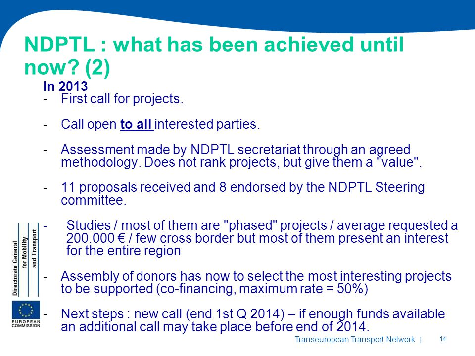 NDPTL : what has been achieved until now (2)