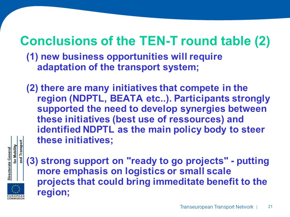 Conclusions of the TEN-T round table (2)