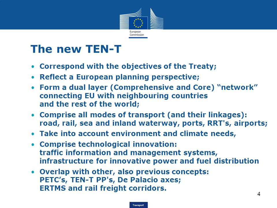 The new TEN-T Correspond with the objectives of the Treaty;