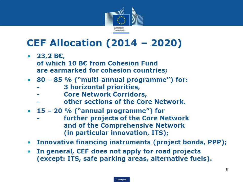 CEF Allocation (2014 – 2020) 23,2 B€, of which 10 B€ from Cohesion Fund are earmarked for cohesion countries;
