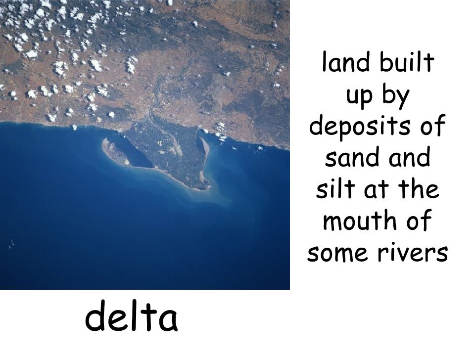 land built up by deposits of sand and silt at the mouth of some rivers