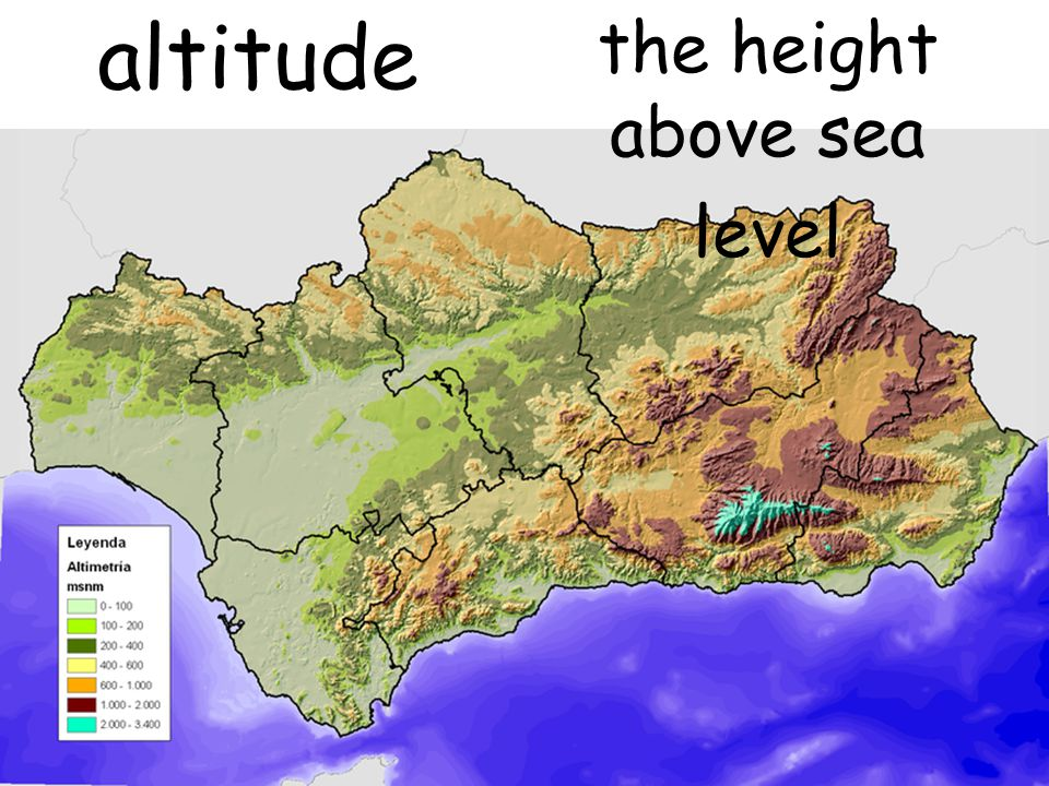 the height above sea level