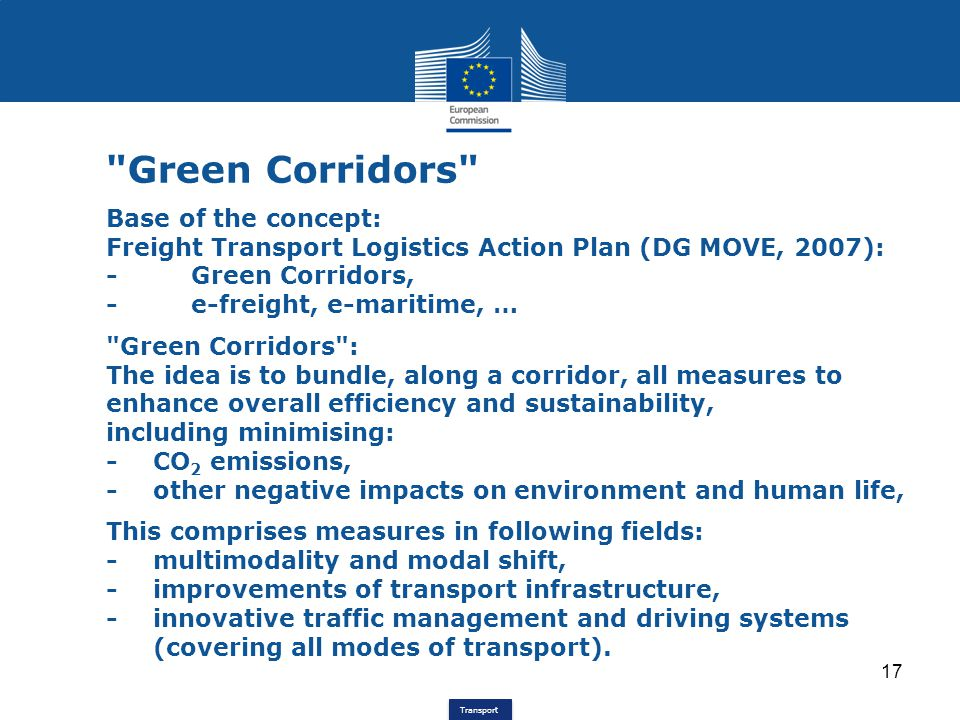 Green Corridors Base of the concept: