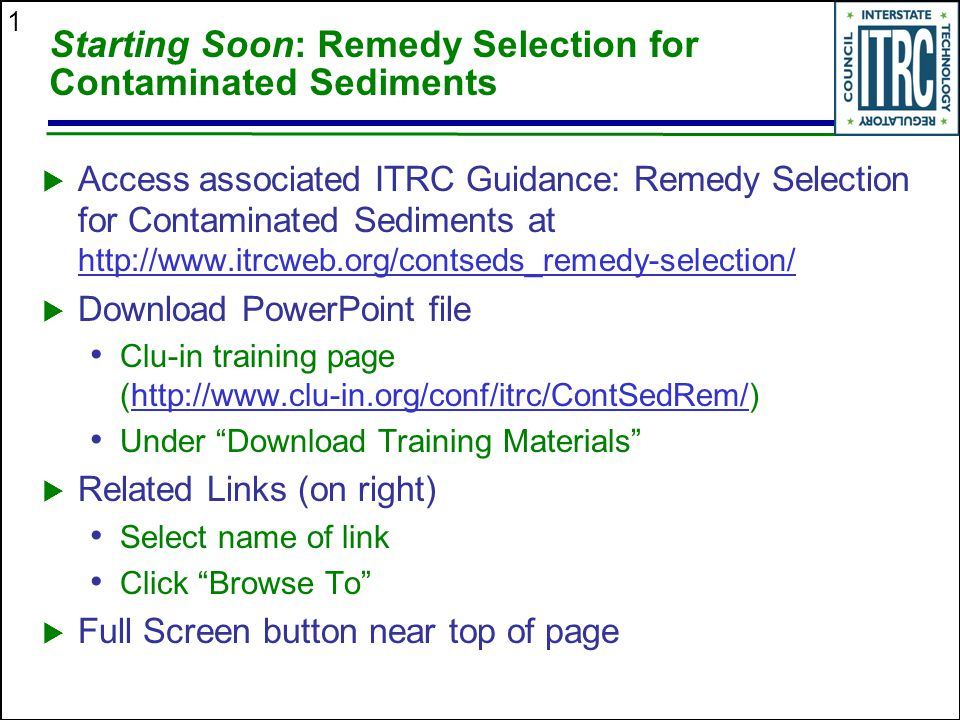 Starting Soon: Remedy Selection for Contaminated Sediments