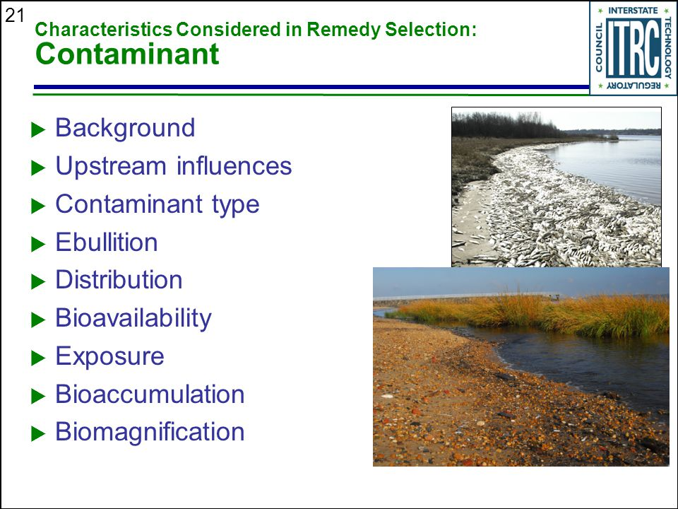 Characteristics Considered in Remedy Selection: Contaminant