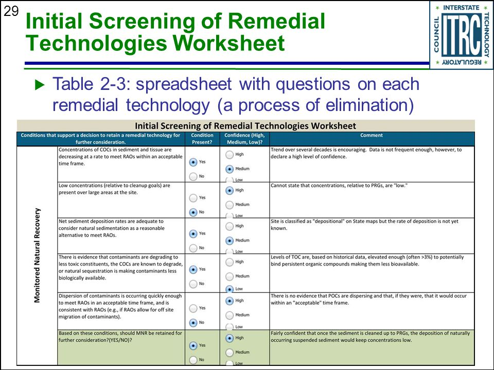 Initial Screening of Remedial Technologies Worksheet