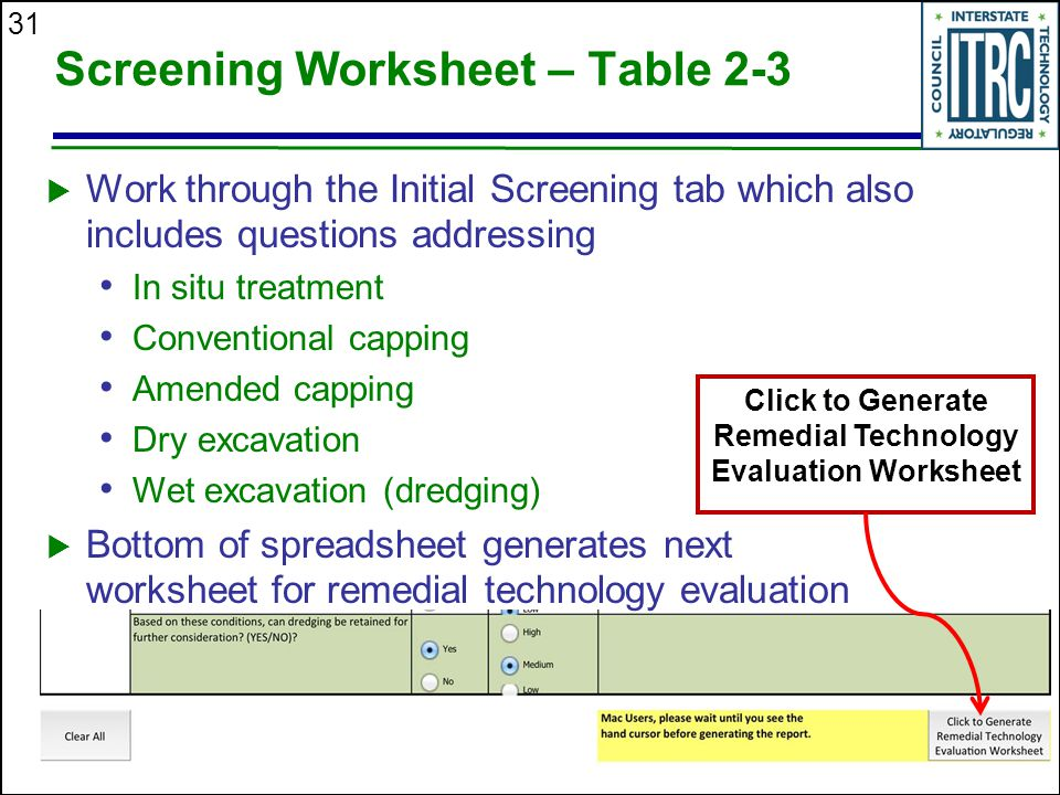 Screening Worksheet – Table 2-3
