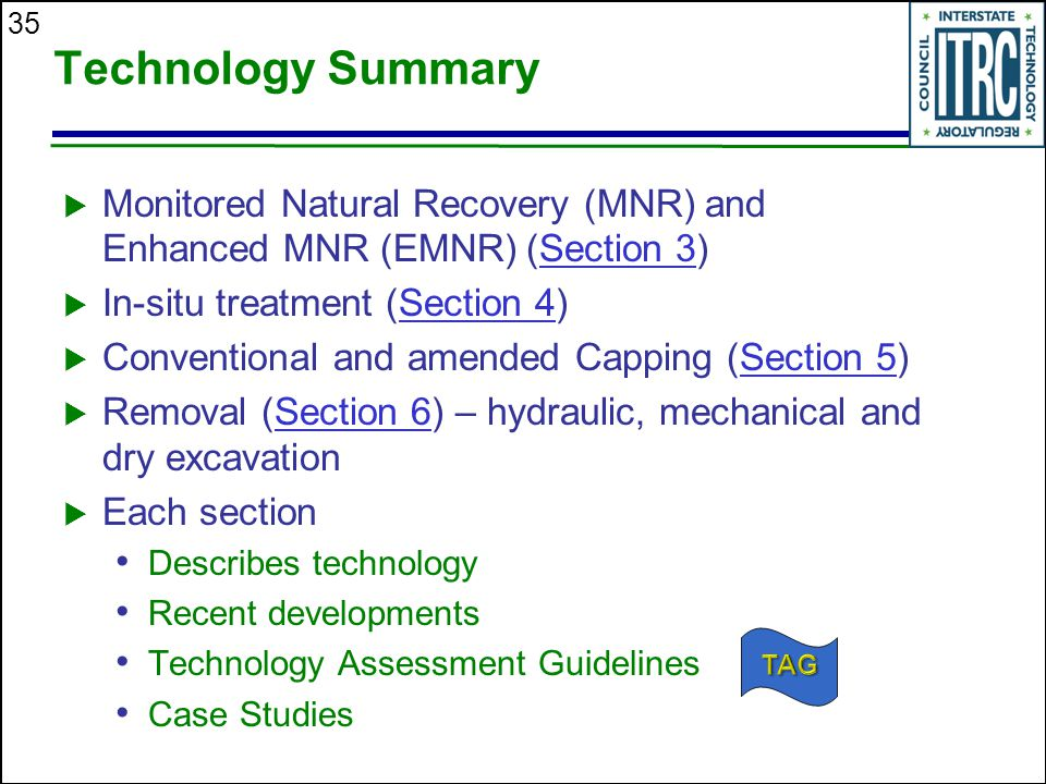 Technology Summary Monitored Natural Recovery (MNR) and Enhanced MNR (EMNR) (Section 3) In-situ treatment (Section 4)