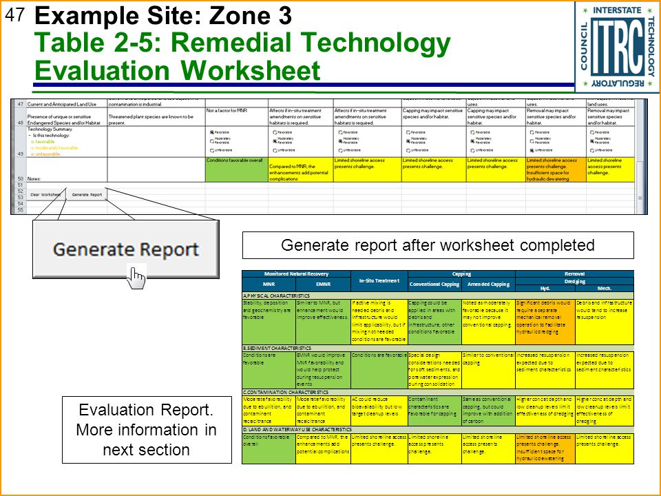 Example Site: Zone 3 Table 2-5: Remedial Technology Evaluation Worksheet