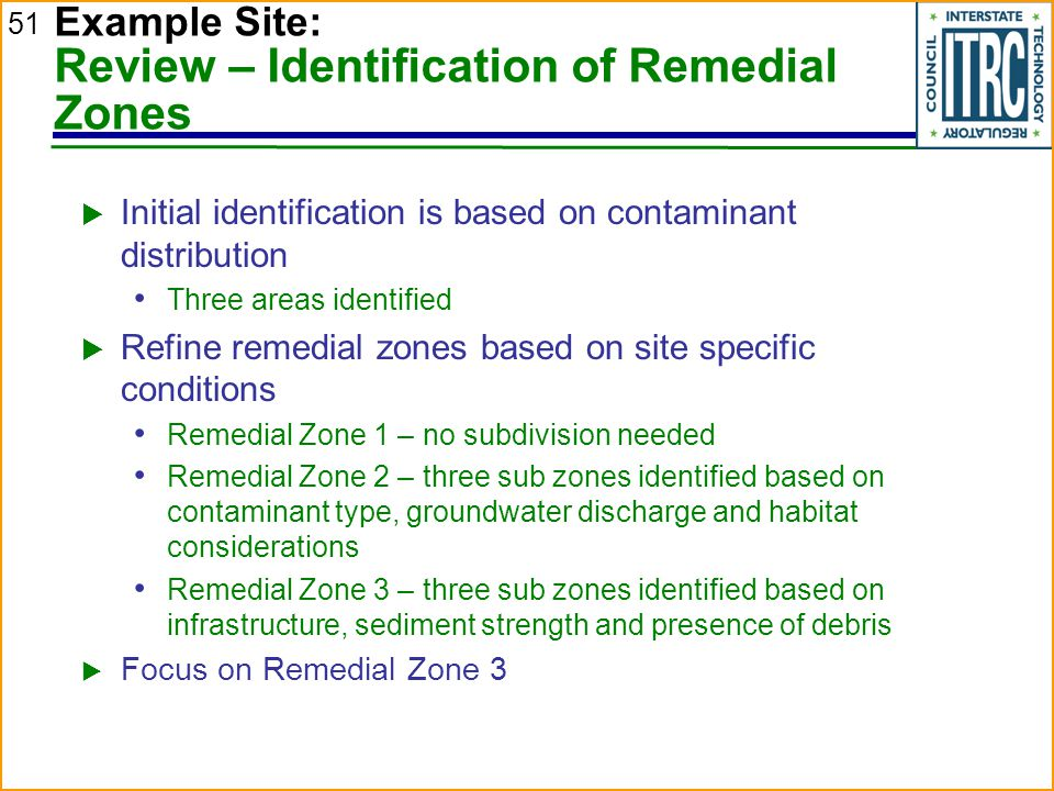Example Site: Review – Identification of Remedial Zones