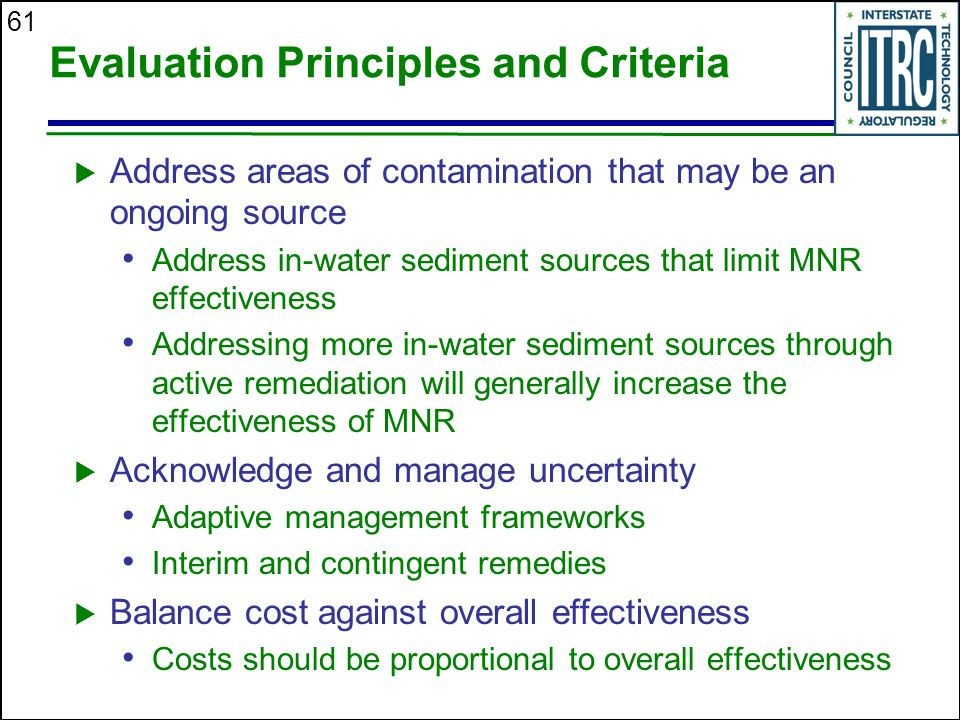 Evaluation Principles and Criteria