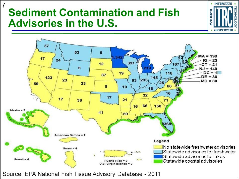 Sediment Contamination and Fish Advisories in the U.S.
