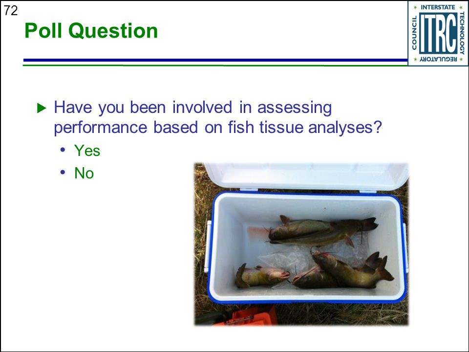 Poll Question Have you been involved in assessing performance based on fish tissue analyses Yes. No.