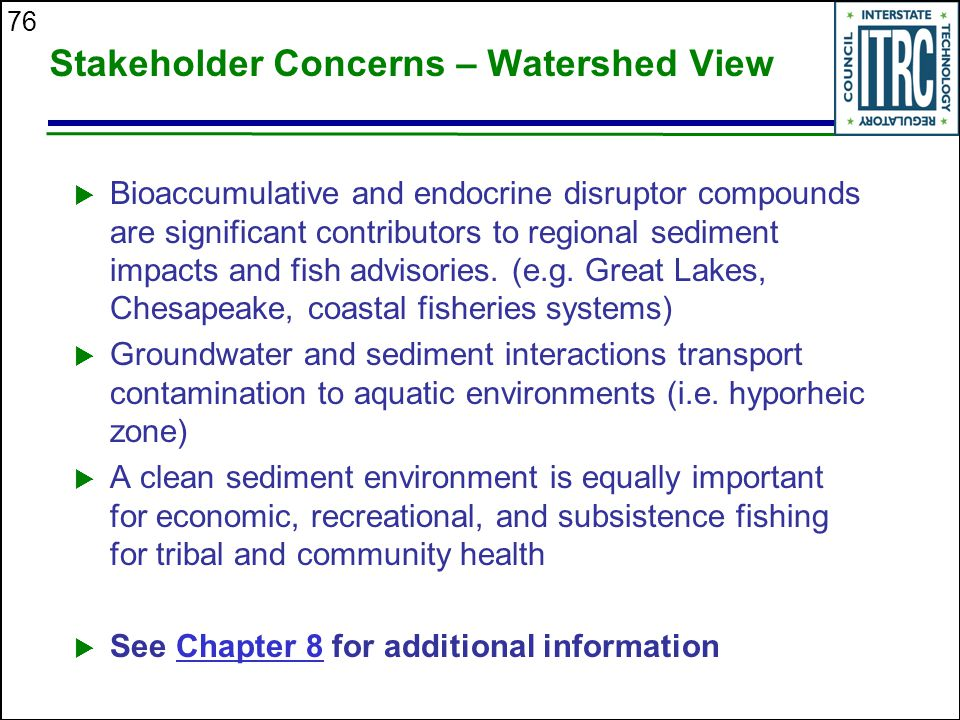 Stakeholder Concerns – Watershed View