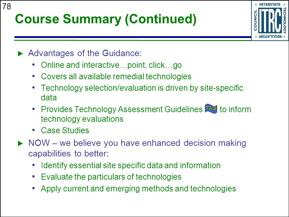 Course Summary (Continued)