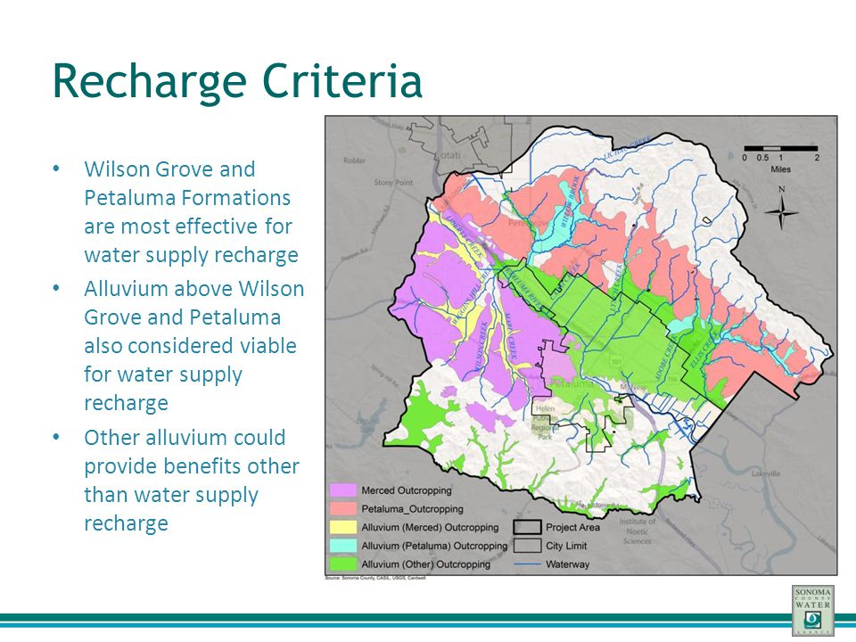 Recharge Criteria Wilson Grove and Petaluma Formations are most effective for water supply recharge.
