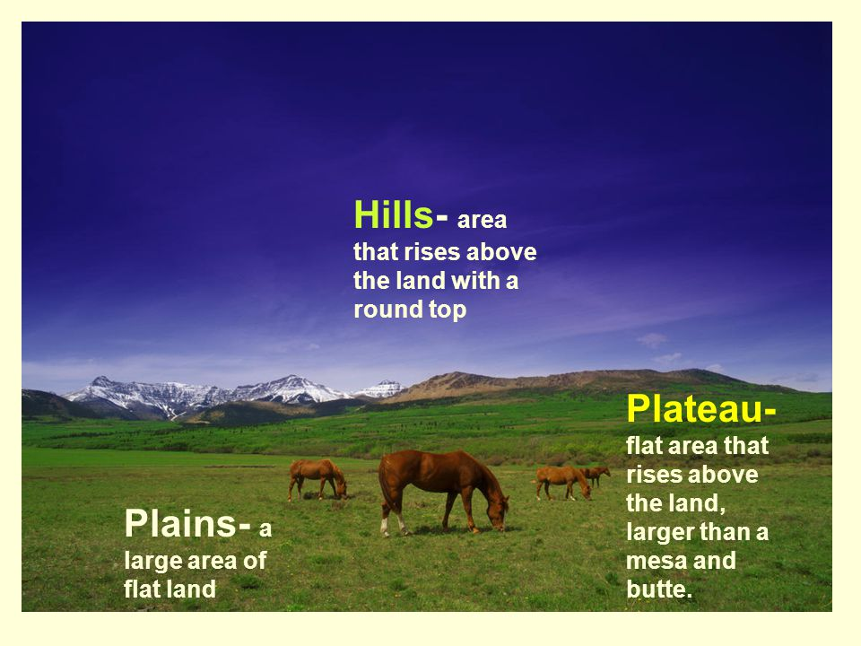 Hills- area that rises above the land with a round top