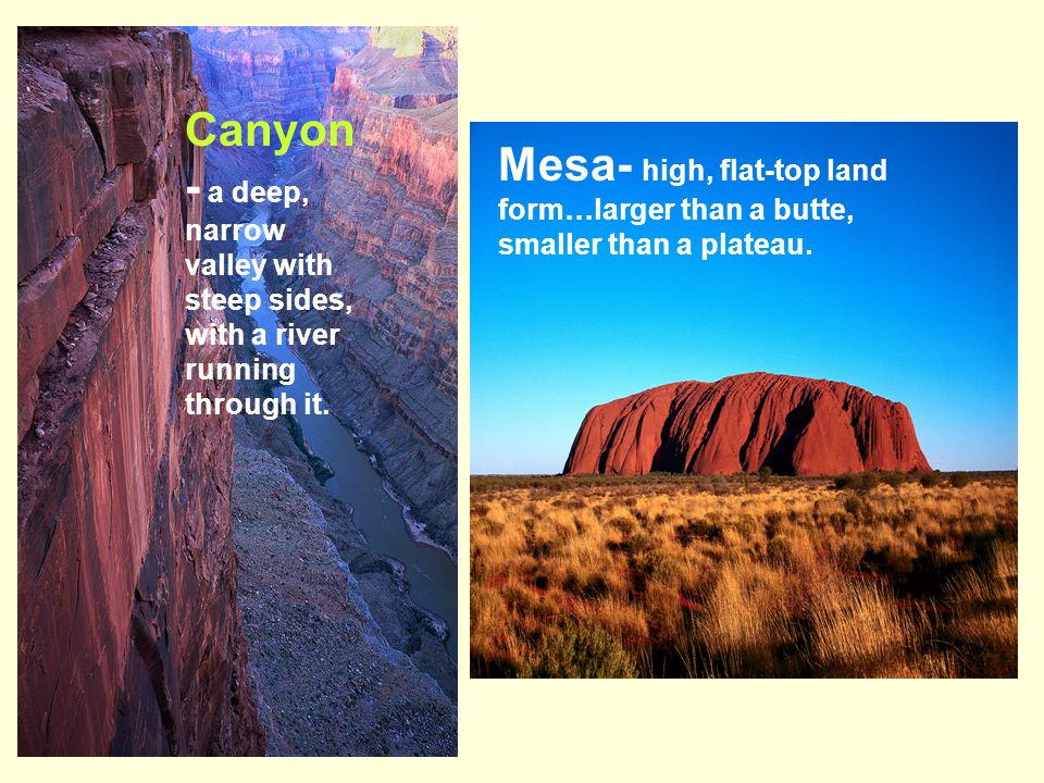 Canyon- a deep, narrow valley with steep sides, with a river running through it.