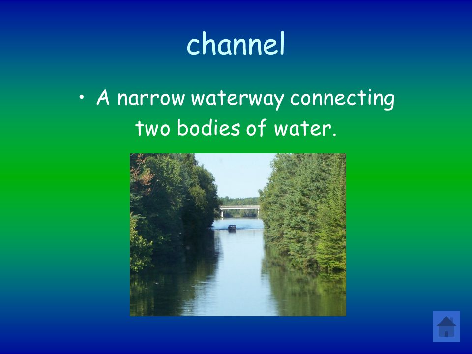 A narrow waterway connecting