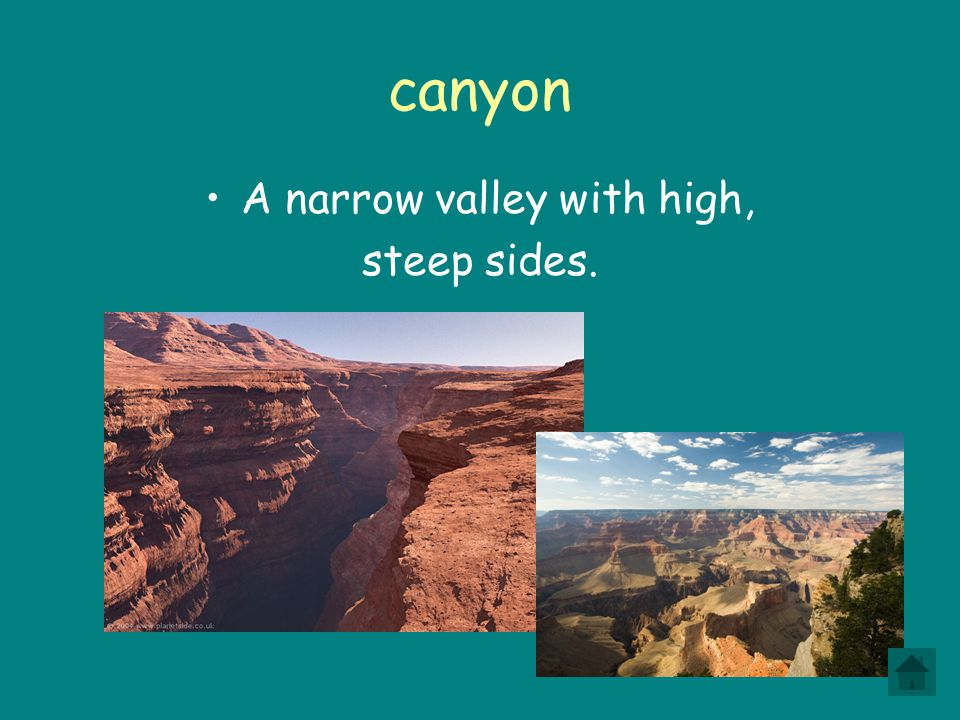 A narrow valley with high,